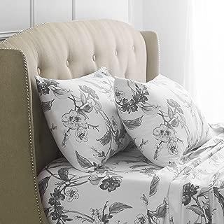 Pinzon Signature 190-Gram 100% Cotton Heavyweight Velvet Flannel Bed Sheet Set, California King, Floral Graphite