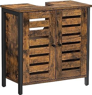 VASAGLE szafka pod umywalkę, szafka łazienkowa, 60 x 30 x 60 cm, rama stalowa, szafka do przechowywania, z 2 drzwiami płyt...