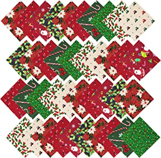 URATOT 40 Pieces Cotton Precut Fabric Christmas Printing Quilting Fabric Squares 5.9 Inches Different Pattern Sewing Patchwork Fabric Craft Hobby Fabric DIY Sewing Quilting(40)