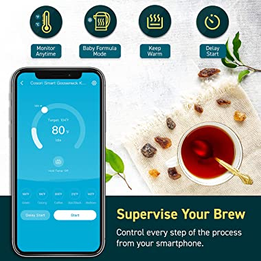 COSORI Electric Gooseneck Smart Bluetooth Temperature Control 5 Variable Presets Pour Over Kettle & Coffee Kettle, 100% S