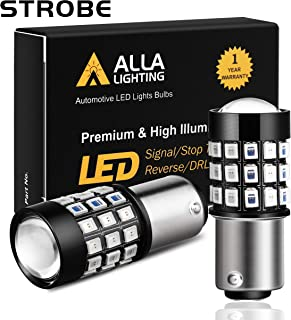 Alla Lighting BAY15D 1157 LED Strobe Brake Lights Bulbs Super Bright 12V 2835-SMD Car Truck Motorcycle Red Flashing Stop Light Replacement 7528 2357 2057 3496