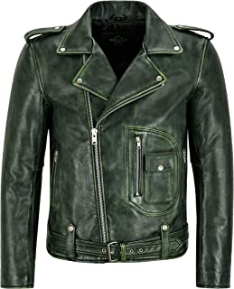 Men's Biker Leather Jacket Green Vintage Brando Style Thick Cowhide Riding Jacket Aster