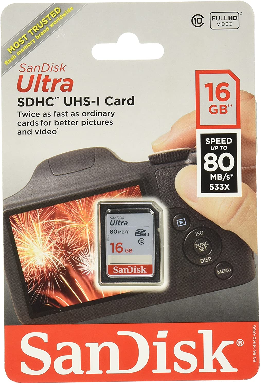 Sandisk Ultra SDHC 16GB 80MB/S C10 Flash Memory Card (SDSDUNC-016G-AN6IN)