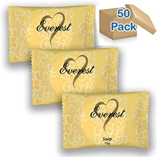 Everest Soap 50 pack,15 grams(.53oz) Individually Wrapped Travel Soap Bar Amenities for Hotels & Motels, Resorts, Guests Toiletries, Bulk Discount Price, Made of Coconut Oil (cocos nucifera oil)