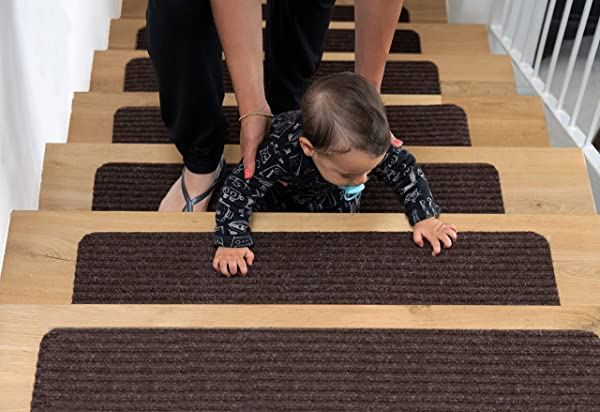 EdenProducts Non Slip Carpet Stair Treads Set Of 15 Rug Non Skid Runner For Grip And Beauty Safety Slip Resistant For Kids Elders And Dogs 8 X 30 Brown Pre Applied Adhesive