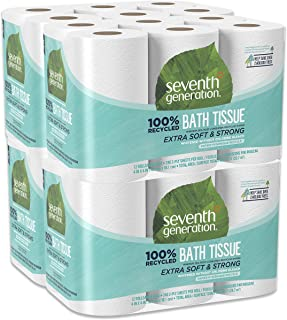 Seventh Generation Toilet Paper, Bath Tissue, 100% Recycled Paper(Pack of 4, 12 rolls/Pack)