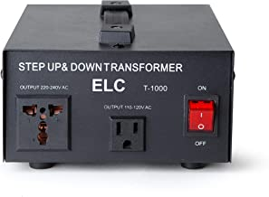 ELC T-1000 1000-Watt Voltage Converter Transformer - Step Up/Down - 110V/220V - Circuit Breaker Protection