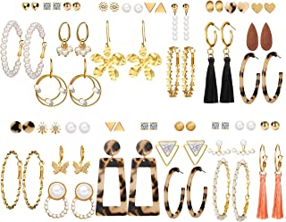 36 Pairs Gold Hoop Earrings Set with Pearl Tassel Acrylic Crystal Fashion Butterfly Dangle Drop Hoop Earrings for Women Gi...