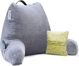 Vekkia Premium Soft Reading & Bed Rest Pillow with Memory Foam, Support Arms, Pockets, Removable Cover. Perfect Back Support for Reading/Relaxing/Watching TV �Extra Foams Incl. Customize Softness-18
