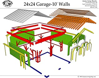 Step-By-Step DIY PLANS - 24x24 Timber Frame Post & Beam Garage Plans with 10' Wall Height - Step-By-Step DIY Building Plans