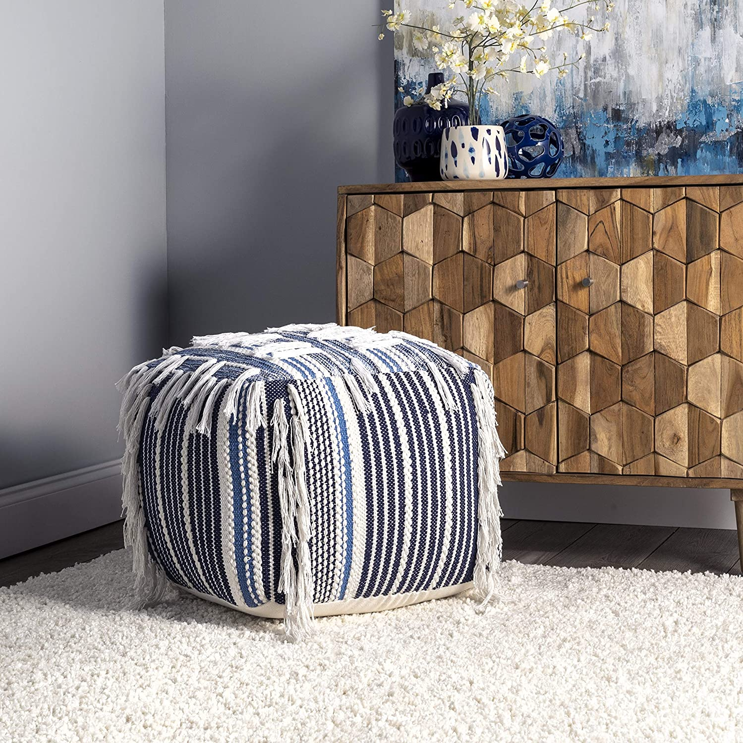 nuLOOM Hydra Denim Striped Pouf Filled All stores are sold Max 62% OFF Fringe Ottoman