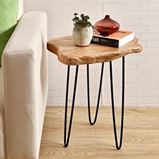 WELLAND Natural Edge End Table, Wood Side Table, Nightstand, Plant Stand 20.5