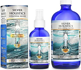 Colloidal Silver Spray Solution 10 PPM Colloidal Silver Liquid in 16 oz and 4 oz Glass Bottle by Silver Holistics