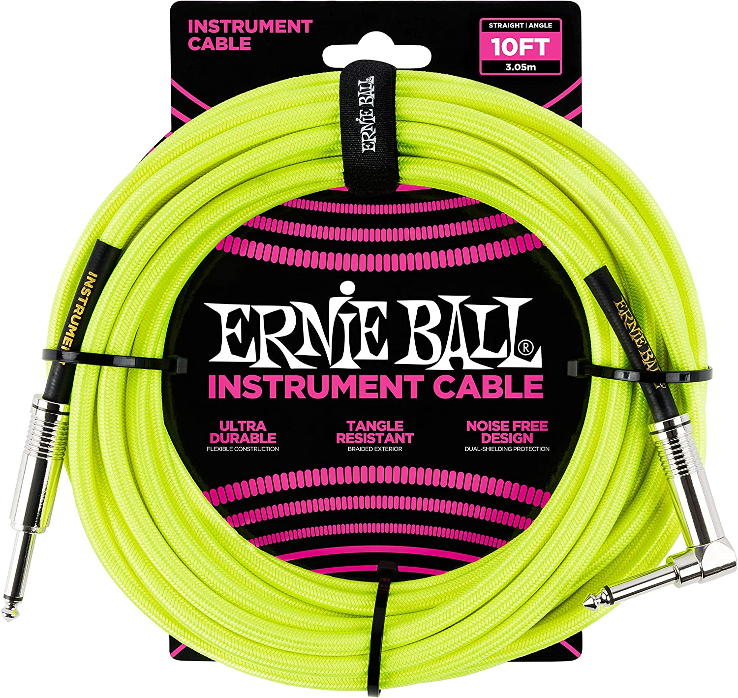 Ernie Ball Instrument Cable, Neon Yellow 10 ft.