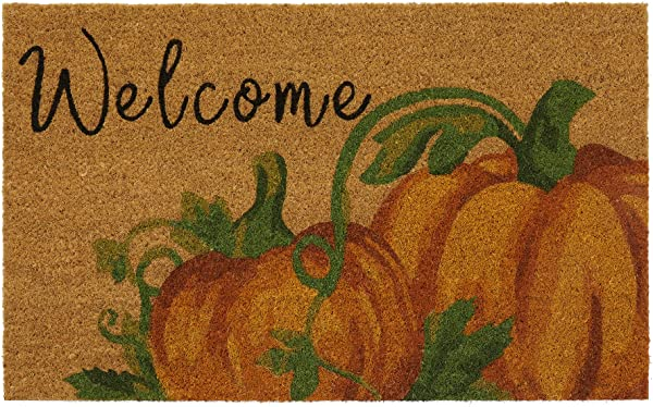 Elrene Home Fashions Farmhouse Living Fall Welcome Pumpkin Coir Mat 18 X 30 Natural