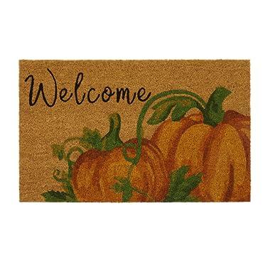 Elrene Home Fashions Farmhouse Living Fall Welcome Pumpkin Coir Door Mat, 18 x30