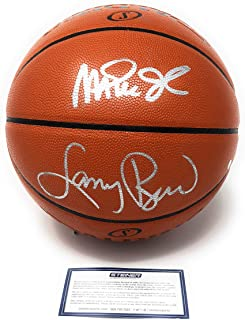 b83516f0d700 Larry Bird Magic Johnson Lakers Boston Celtics Dual Signed Autograph Silver  NBA Game Basketball Steiner Sports