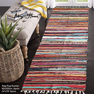 """About Home Handwoven Multi-Coloured Chindi Rag Rug, Carpet for Living Room and Entry Way (24""""x78"""" - 2'x6.5')"""