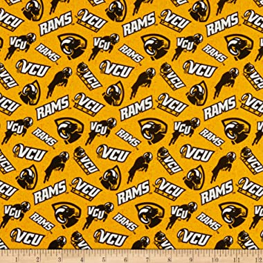 NCAA Virginia Commonwealth Rams Tone on Tone Cotton Quilt Fabric By The Yard
