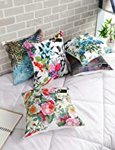 b7 CREATIONS Floral Digital Printed Jute Cushion Cover (White,16 x 16 inch) - Set of 5