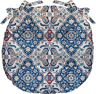 RSH Décor Indoor Outdoor Tufted Bistro Round Chair Seat Cushions & Ties ~ Available in 4 Sizes & Various Fabrics (Single(16