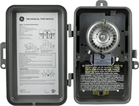GE 24-Hour Indoor/ Outdoor Mechanical Time Switch, 40 Amp 120 Vac 5Hp Box Timer, Single Pole Single Throw, Nema 3-Rated Metal Tamper Resistant Enclosure, For Fans, Pumps, Air, & Heating, 15163