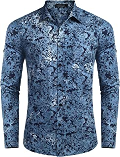 COOFANDY Men's Floral Button Down Shirt Long Sleeve Slim Fit Casual Paisley Dress Shirt