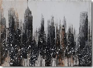 Fashion Canvas Wall Art, Modern Abstract Cityscape Brooklyn Picture Stretched and Frameless Black and White New York Skyline Buidling Painting for Large Office Decor, Original Design (Grey, 20Wx28L)