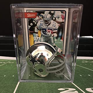Chrome Edition Dallas Cowboys NFL Helmet Shadowbox w/Emmitt Smith card