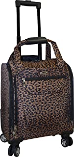 15 Inch Underseater Spinner With Laptop Pocket- Carry-On Wheeled Luggage (Leopard)