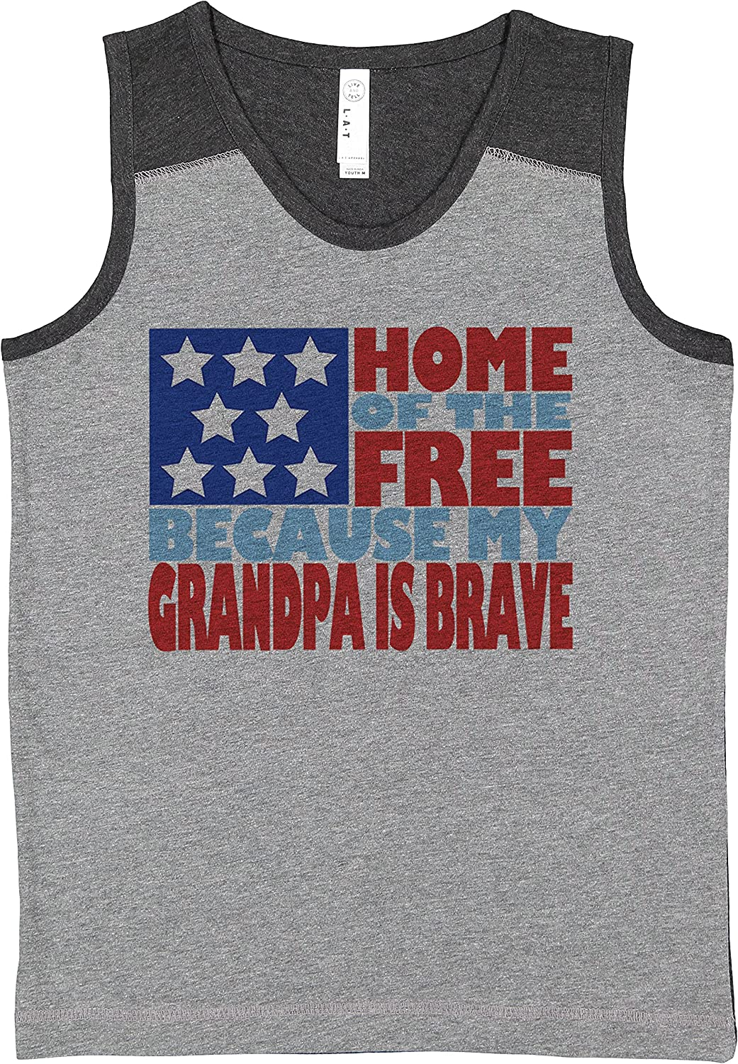 7 ate 9 Apparel Kids 4th of July Grandpa is Brave Grey Contrast Tank Top