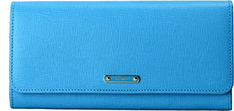 Fendi Women's Blue Saffiano Leather Continental Crayons Wallet