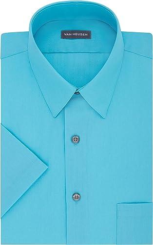 Van Heusen Hommes's manche courte Poplin Solid Robe Shirt, ice, 15  Neck