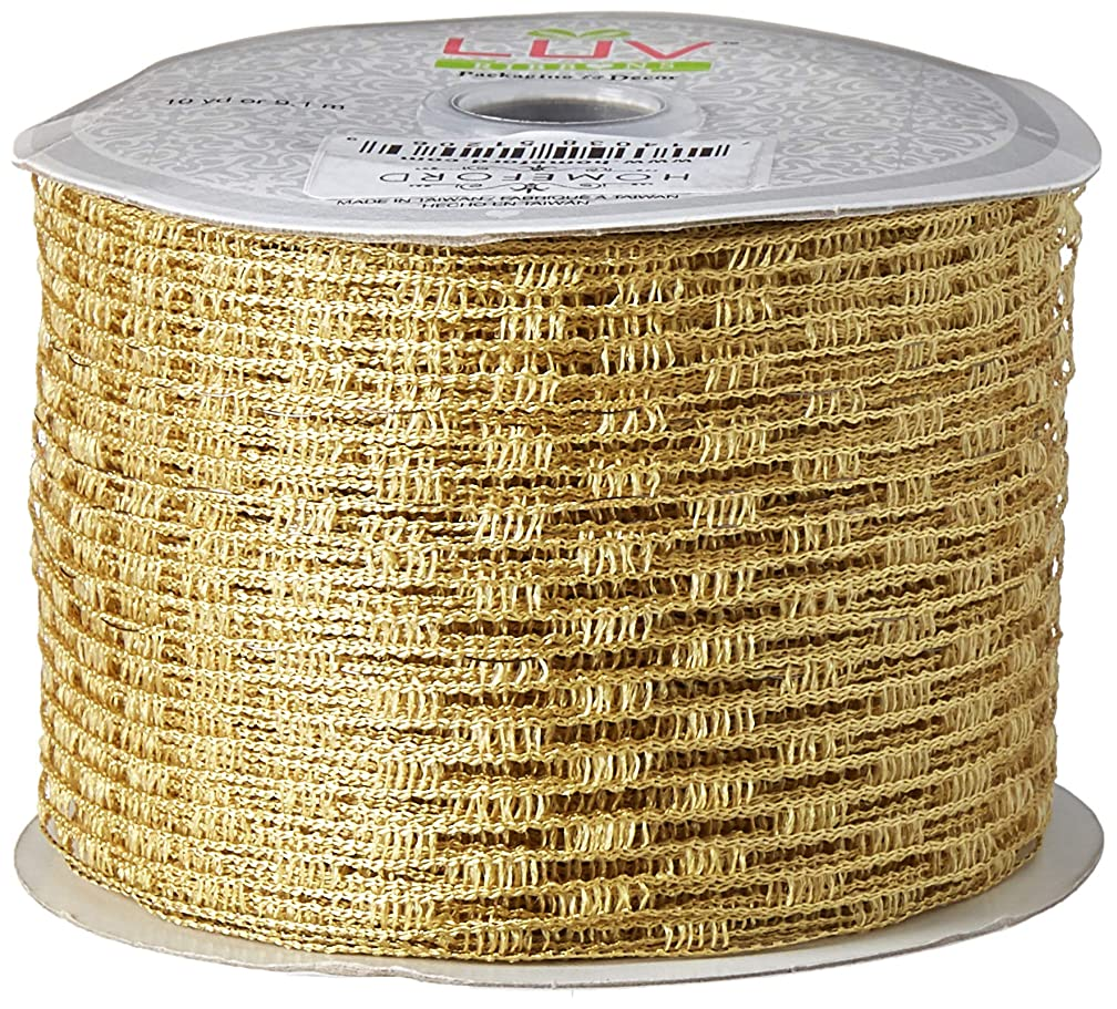 Homeford FCR000WSN2102690 Stretch Netting Wired Mesh Ribbon, 2-1/2-Inch, Antique Gold