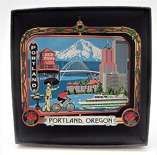 Portland Oregon Brass Ornament Black Leatherette Gift Box
