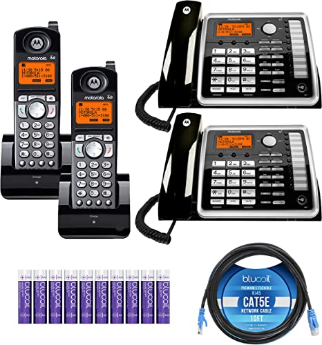 wholesale Motorola ML25260 2-Line Corded Phones with Speakerphone outlet online sale & Caller ID/Call Waiting (2-Pack) Bundle with ML25055 DECT 6.0 Cordless new arrival Handsets (2-Pack), Blucoil 10' Cat5e Cable, and 10 AAA Batteries online sale