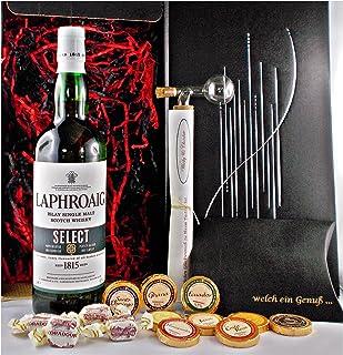 Geschenk Laphroaig Select Islay Single Malt Whisky  Glaskugelportionierer  Edelschokolade  Fudge