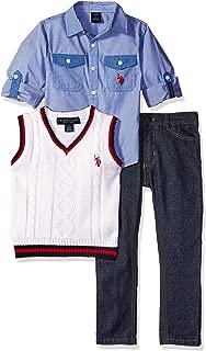 U.S. Polo Assn. Boys' Long Sleeve Fancy Sport Shirt, Sweater Vest and Denim Jean
