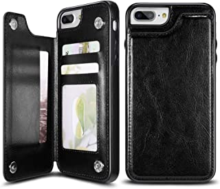 UEEBAI Case for iPhone 6 6S, Luxury PU Leather Case with [Two Magnetic Clasp] [Card Slots] Stand Function Durable Shockproof Soft TPU Case Back Wallet Flip Cover for iPhone 6/6S - Black