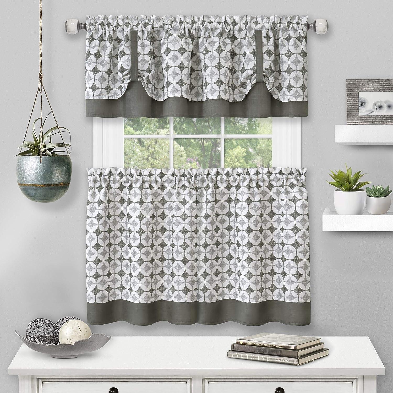 Achim Home Furnishings Tier Pair and Valance Set Callie Window Curtain, 58