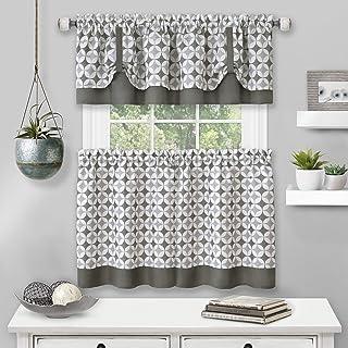 "Achim Home Furnishings Tier Pair and Valance Set Callie Window Curtain, 58"" x 24"", Grey"