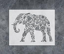 GSS Designs Mandala Elephant Stencil 12x16 Inch(305x406mm) Laser Cut Painting Stencil - for Furniture Wall Tile Fabric Woo...