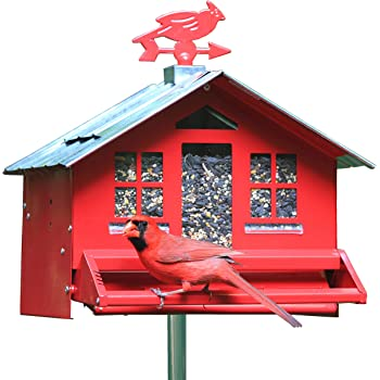 Perky-Pet 338 Squirrel-Be-Gone II Country House Bird Feeder with Weathervane, 8 Lb, Red