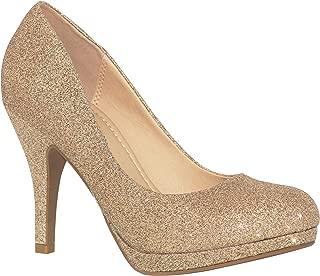 MVE Shoes Women's Almond Toe Mid Heel Pumps-Shoes