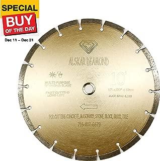 ALSKAR DIAMOND ADLSS 10 inch Dry or Wet Cutting General Purpose Power Saw Segmented Diamond Blades for Concrete Stone Brick Masonry (10