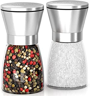 MIUMI Salt & Pepper Mill Shakers Set of 2 - Premium Salt and Pepper grinder set, Adjustable and Easy To Use, Stainless Steel Top, Ceramic Rotor and a Thick Glass Body with Large Capacity (5.2