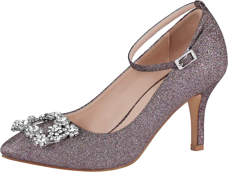 ERIJUNOR Glitter Pumps for Women Pointy Toe Mid Heels Prom Evening Dress shoes