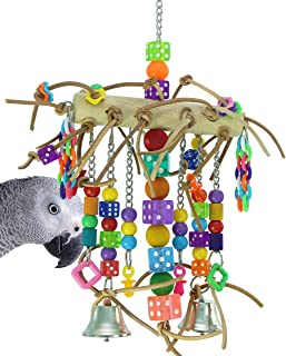 Bonka Bird Toys 1746 Leather Chain Waterfall Tower Toy Rope Parrot Cage Dice Cages African Grey Amazon Conure Wooden Perch Aviary Swing