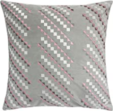 Homey Cozy Embroidery Gray Velvet Throw Pillow Cover,Geometric Line Ivory and Pink Modern Large Decorative Sofa Couch Pillow Case 20x20,Cover Only