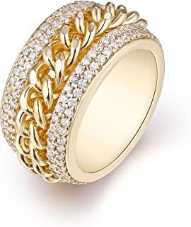 Barzel Rose Gold, White Gold or Rose Gold Plated & Swarovski Elements Braid Statement Ring